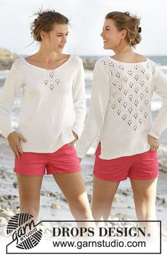 """Knitted DROPS jumper with V-neck, lace pattern and vents in the sides in """"Paris"""". Free Pattern"""