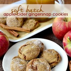 Soft Batch Apple Cider Gingersnap Cookies (Gluten-Free) Recipe Desserts with butter, sugar, unsweetened applesauce, apple cider, molasses, eggs, vanilla, gluten, baking soda, cinnamon, ground ginger, ground cloves, salt