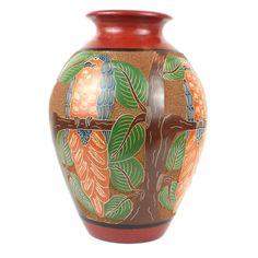 13 inch Tall Vase - Parrot Relief - Esperanza en Accion