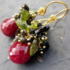 Ruby earrings 14k gold fill RESERVED woodland leaves fairy tale sleeping beauty vine cluster dangle beaded gemstone jewelry -Rose Red- via Etsy