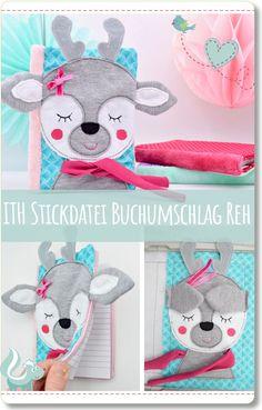 Buchumschlag Reh für die Stickmaschine, ITH Stickdatei von Stickiter Animal Faces, Pixie, Stationary, Hobbies, Embroidery, Dolls, Sewing, Creative, Crafts