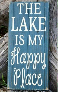 The Lake Is My Happy Place Wood Sign Lake House Home Decor Lakeside Reclaimed Wood Hand Painted Signs Distressed Hand Painted Wall Art Sizes: This is also offered in large sizes. Lake House Signs, Cottage Signs, Lake Signs, Beach Signs, Cabin Signs, Lake Cottage, Cottage Chic, Rustic Cottage, Cottage Ideas