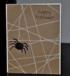 Halloween Card made for CAS-ual Friday.  The spider web was made by wrapping twine around a kraft cardstock.