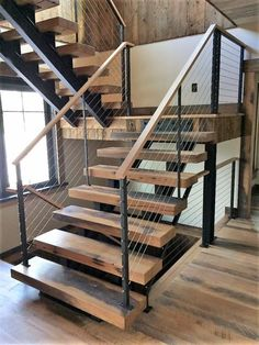Wooden Staircase with Cable Rail Richfield Portage Lakes Bath Canton Stow K Modern Staircase Bath cable Canton Lakes Portage Rail Richfield Staircase Stow Wooden Wooden Staircase Design, Stair Railing Design, Home Stairs Design, Floating Staircase, Staircase Railings, Interior Stairs, Open Staircase, Staircase Design Modern, Steel Stairs Design