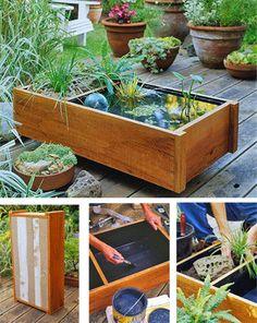 water garden pond ideas 6 21 Dazzling DIY Water Feature And Garden Pond Ideas Container Water Gardens, Container Gardening, Container Pond, Flower Containers, Gardening Vegetables, Storage Containers, Outdoor Projects, Garden Projects, Outdoor Decor