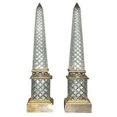 Pair of Gilt-Metal Mounted Cut Glass Obelisks ; Height 21 inches.
