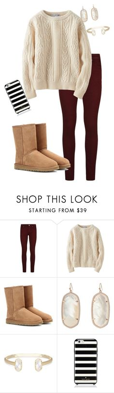 """""""Winter Look"""" by audreygdykhoff ❤ liked on Polyvore featuring Paige Denim, Uniqlo, UGG Australia, Kendra Scott and Kate Spade"""