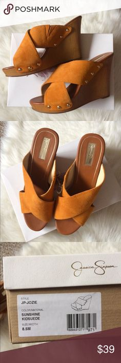 """8.5 orange suede platform wedge slip on sandal With box. Fits size 8 just fine also. Style is Jozie. Color is Sunshine. lightweight. faux wood. elastic in strap. 1"""" platform. 4.5"""" total heel.   no defects. never worn Jessica Simpson Shoes Wedges"""