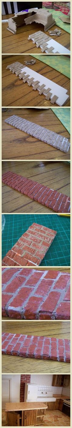 "decoratiuni interioare 1 [ ""Paper carton/egg trays~~easier than wood to cut to create faux bricks from…"", ""Ideas for miniature bricks - polymer clay"", ""Fa Doll Furniture, Dollhouse Furniture, Diy And Crafts, Arts And Crafts, Paper Crafts, Diy Dollhouse, Dollhouse Miniatures, Dollhouse Tutorials, Victorian Dollhouse"