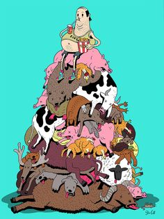 Artist Steve Cutts is a freelance illustrator based in London. He creates satirical illustrations that portray the (sad) truth about the world we live in. Cartoon Cartoon, Cartoon Shows, Caricature Art, Illustrator, Satirical Illustrations, Graphic Illustrations, Animal Rights, Going Vegan, Illustration Art