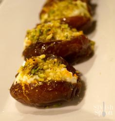 Ricotta & Pistachio Stuffed Dates with Orange Zest.  So decadent, great for cocktail parties and really simple to make | www.StylishSpoon.com