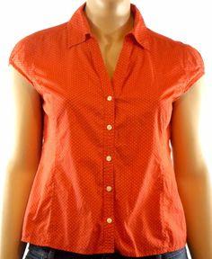 Rafaella Women's Red White Polka Dot Cap Sleeve Button Up Blouse Cotton Size XL #Rafaella #Blouse #Career