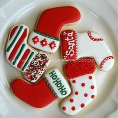 32 ideas for cookies sugar christmas baking Christmas Sugar Cookies, Christmas Sweets, Christmas Cooking, Noel Christmas, Holiday Cookies, Christmas Stocking Cookies, Christmas Decorations, Christmas Stockings, Christmas Cakes
