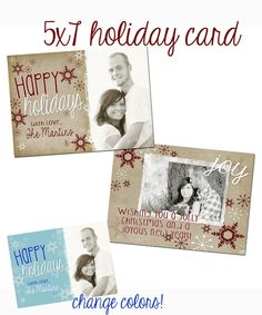 INSTANT DOWNLOAD psd Christmas card photoshop template for professional photographers - Y308