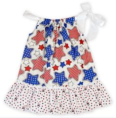 Red White Blue Stars Patriotic / 4th of July Girls Dress