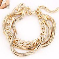 Simple cadena de Metal pulsera temperamento moda mujeres oro plata nueva moda de las pulseras regalo de la joyería de la mujer y accesorios