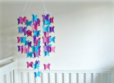 Paper butterfly mobile - You pick your colors - Pink, purple, blue paper butterflies with crystal beads - Nursery decor - Lullaby Mobiles