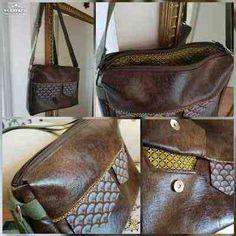 Besace Zip-Zip cousue par MarieC - Tissu(s) utilisé(s) : Simili cuir et coton. - Patron Sacôtin : Besace Zip-Zip