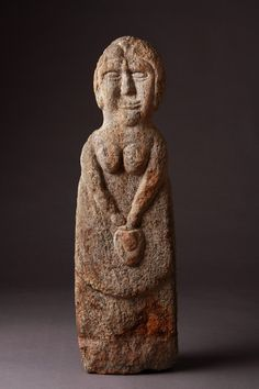Celtic Gneiss Stone Figure of a Goddess, perhaps Brigantia, 200-300, stone from Outer Hebrides. A mother, warrior, virgin, hag, conveyor of fertility, giver of prosperity to the land and protectress of the flocks and herds. Tied to the land whose features seemed to be manifestations of her power. When no longer venerated, converted into local nymphs, guardians of wells, or supernatural hags, conferring benefits/evils. Celtic goddesses remain traceable in local saints and spirits of localities.