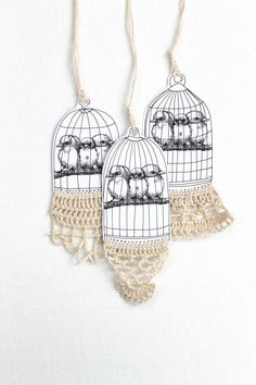 LACE TAGS Birds in a Cage Tag Vintage Style Crochet Trimmed Paper Goods One Tag Listing