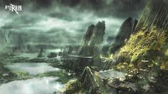 Environment Concept Art by gorgonzola3000.deviantart.com @deviantART ~ city, future, fantasy, rain, storm