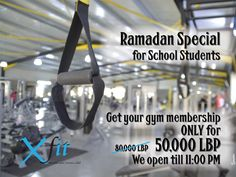 RAMADAN SPECIAL OFFER for SCHOOL Students, Get your Gym membership for ONLY LBP 50,000. HURRY UP and get this special during Ramadan Month.  RAMADAN KAREEM from Xfit gym in Bkeftine El Koura, 60 seconds off Dahr El Ain main road. Call us now at 76 134 134 or visit our #spacious #gym #bodybuilding #gymnastics #zumba #classes #sessions #training #professional #personaltraining #fitness #kickboxing #karate #solarium #lebanon #koura  P.S: WE OPEN AT 7:00 AM & we CLOSE at 11:00 PM during Ramadan…