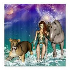 #Elf with #unicorn and #lion, Shower #Curtain