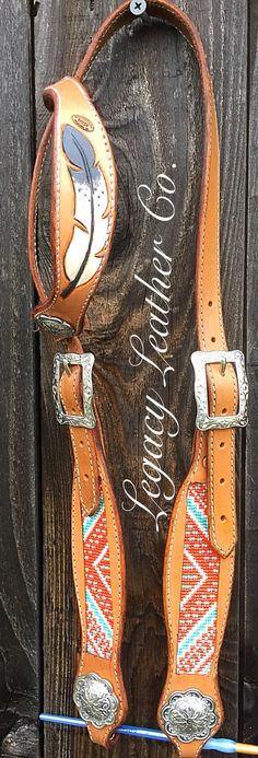 Custom beaded and tooled headstall with JWP hardware made by Christina Withers of Legacy Leather Co. In Central Point, OR. Www.LegacyLeatherCo.com