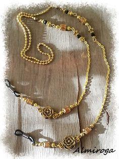 Chaîne dorée pour lunettes Mlle HORTENSE - Cristal ambre et noir : Lunettes, lunettes de soleil, cordons par almiroga