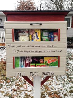 This box on a post is hoping to tackle food insecurities in local neighborhoods across the country Little Free Libraries, Little Library, Free Library, Give Box, Girl Scout Silver Award, Homeless Care Package, Little Free Pantry, Church Outreach, Community Service Projects