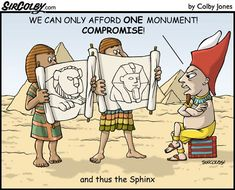 "Sphinx cartoon - ""Sir Colby"" by Colby Jones . History Cartoon, History Jokes, Art History, Funny History, History Major, Funny Cartoons, Funny Comics, Funny Memes, Funny Shit"