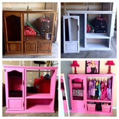 Old entertainment center turned into a princess wardrobe!