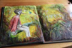 Babette Duinkerken | Art Journal mixed media Pinokkio met koffiepads