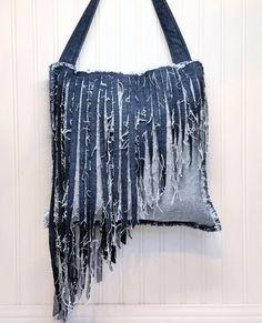 Denim Fringe Purse Handmade from Recycled Blue Jean Denim Purse, Single Strap Cross Body Style with Angled Long Fringe, Shabby Chic Handbag
