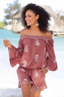 Beach clothing for women from LASCANA. Shop resort wear, beachwear and vacation ready clothing and summer attire. Rompers Women, Jumpsuits For Women, Fashion Jumpsuits, Off The Shoulder Playsuit, Jumpsuit Dressy, Fashion Outfits, Women's Fashion, Fashion Ideas, Clothes For Women