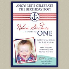 Nautical Printable Birthday Party Invitations by doubleudesign, $12.50