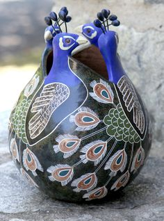 In the Garden and the Home - Terra Art Peacock Ethched Vase, Old Durham Road
