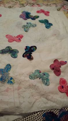 Butterfly applique on re purposed eyelet tablecloth