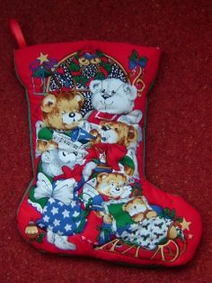 Medium 'Teddy Family' Quilted Christmas Stocking - Approx Size: (H) x (W) Quilted around the design to create a effect. Plain fabric on the back. Left & Right facing boot available. This stocking can be personalised with a childs name in fabric paint Quilted Christmas Stockings, White Fabrics, Medium, Holiday Decor, Singers, Red, Color, Paint, Create