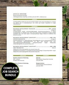 Resume And Cover Letter   Resume And Cover Letter Template   Instant  Download   Complete Bundle/Package