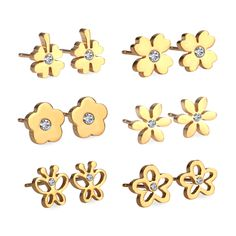 New 6Pairs/Box Stainless Steel Mixed Stud Earrings with Crystal Cubic Zirconia,Fashion Anti-Allergy Earrings For Women Jewelry