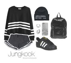 """""""Bangtan Outfit / #3"""" by youaremorethanbeautiful ❤ liked on Polyvore featuring adidas, NIKE, Mia Sarine, ABRA Therapeutics, American Apparel and Casetify"""