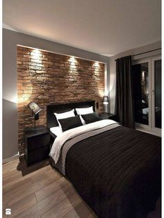 Bedroom Design Inspiration & 2 great designs that will inspire you! # The post Bedroom Design Inspiration Bedroom Colors, Bedroom Sets, Home Decor Bedroom, Bedroom Furniture, Guy Bedroom, Brick Wall Bedroom, Wooden Bedroom, Bachelor Pad Bedroom, Brick Wall Decor