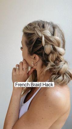 French Braid, Athletic Hairstyles, Work Hairstyles, Pretty Hairstyles, Simple Hairstyles For Long Hair, Messy Braided Hairstyles, Heatless Hairstyles, Hairstyles Videos, Braids For Short Hair