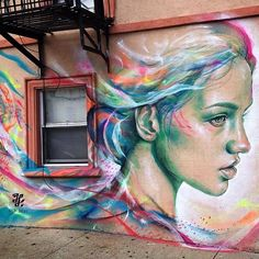 Look at this beautiful street art. I love it. Colorful street art, amazing street art, urban art.
