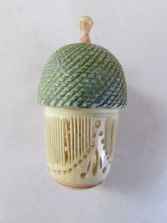 THIMBLE-HOLDER-UNUSUAL-ACORN-BEEHIVE-DESIGN