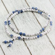 Howlite + Blue Quartz Mala Past Life, How To Relieve Stress, Jewerly, Beaded Necklace, Quartz, Gemstones, Blue, Collection, Products