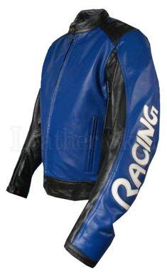 Blue w/ Black panels Motorcycle Biker Racing Premium Genuine Real Leat - Leather Skin Shop Best Leather Jackets, Men's Leather Jacket, Leather Skin, Biker Leather, Black Leather, Real Leather, Motorcycle Leather, Jacket Men, Bomber Jacket