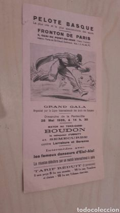 Former program of Basque Ball in the Fronton of Paris (28/5/1939).  - Photo 1