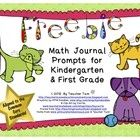 FREEBIE! Math Journal Prompts for Kindergarten and First Grade.  With these journal prompts, students will count bones, measure yarn, add balls, graph types of pets, subtract fish and more! There are 20 pages of prompts with 10 devoted to each grade level. A few prompts cover Common Core Standards from both grades. PreK to first.